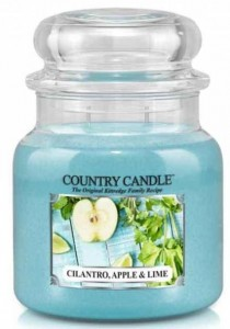Świeca zapachowa Country Candle Medium 2 knoty - Cilantro, Apple & Lime - Kolendra, Jabłko i Limonka